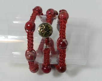 """Red Wrap Bracelet w/ Button & Loop Closure - Available in sizes 6"""" - 9 1/2"""""""