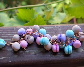 French Macarons Charm Bracelet, Pastel Macarons Bracelet, Macaroon Bracelet, Jewellry Polymer Clay Charm Miniature