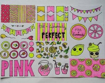 Pink lemonade stickers