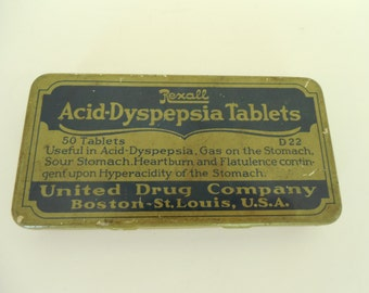 Vintage Medical Advertising Lithograph Tin Rexall Brand Acid-Dyspepsia Tablets United Drug Company