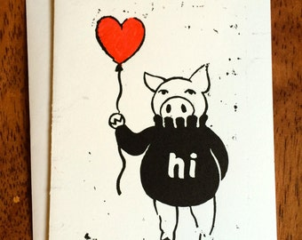 Hi Pig Linocut Greeting Card