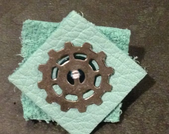 Small Blue Leather Squares Pin