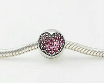 Pink Red Pave Heart Clip Charm For Pandora Bracelet S925 Sterling Silver New Unboxed