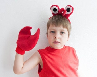Crab Eyes Headband and Crab Claws, Children's or Adult's Photo Prop, Pretend Play, Red, Spongebob Mr. Krabs