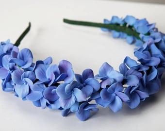 Hydrangea headband, flower headband, flower touch, hydrangea hair, flower hair, flower crown, polymer clay flowers, blue hydrangea headband