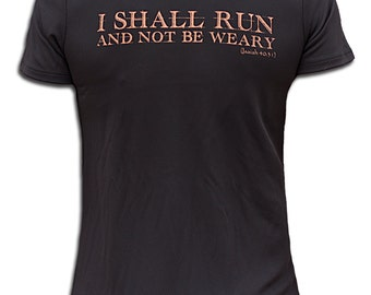 I Shall Run Wicking V-Neck Tee