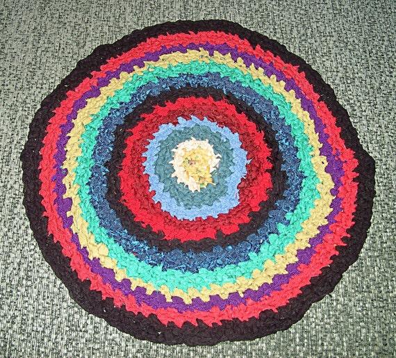 Rag Rug Stool: Granny Circle Crochet Stool Rag Rug, Eco Friendly