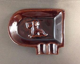 Vintage Redware Ashtray Scottie / Schnauzer Dog /Puppy Made in Japan