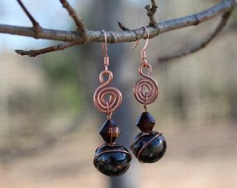 Swan Swirl Brown Earrings
