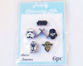 Star Wars 6pc Floating Charm Themed Set fits Living Memory Floating Locket Necklace Jewelry