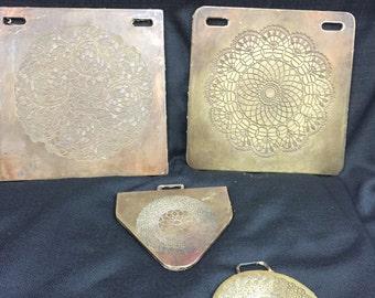 Set of 4 Rare, Unique, Brass Doily Molds