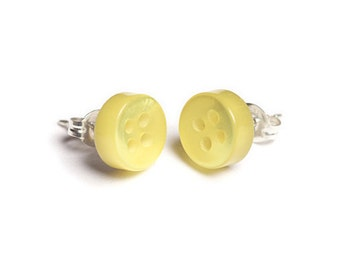 Button Stud Earrings - sunshine yellow 9mm - Sterling Silver or Surgical Steel