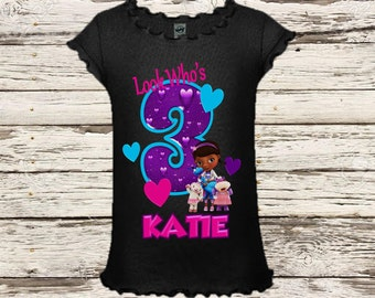 Doc McStuffins Birthday Shirt - Black Shirt Available