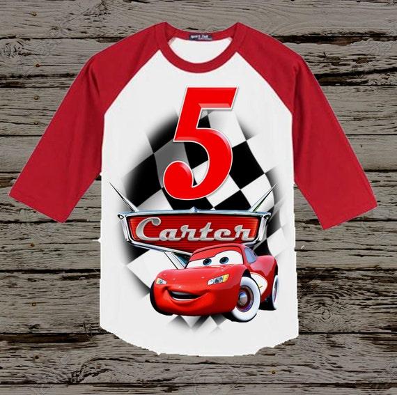 Disney Cars Birthday Shirt Raglan Options