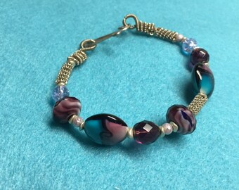 Glass and Lamp Work Bead Bracelet
