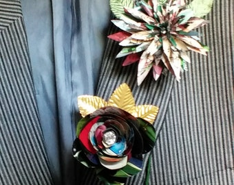 Comic Book Boutonniere Button Hole Buttonhole Corsage for Wedding or Special Occasion