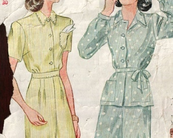 Simplicity 1940s vintage sewing pattern 1995 misses' pajamas - Size 12