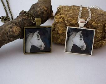 Grey horse head glass tile pendant necklace or keyring original art