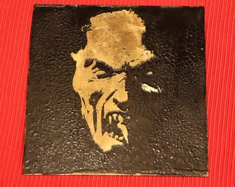 Demon Face on Etched Brass Plate