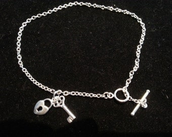 Sterling Silver Locket and Key Anklet