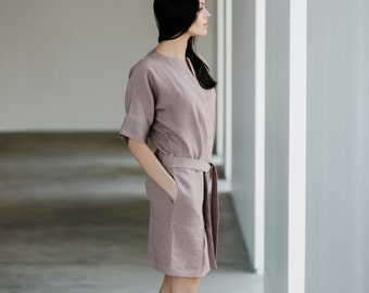 Linen Dress Motumo 15S6 - Linen dress with wide sleeves