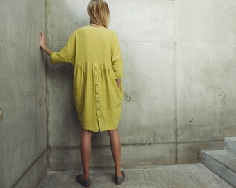 Linen Dress Motumo With Pockets 14S8