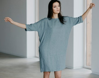 Linen Dress With Back Buttons Motumo 15S5