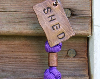 SHED key tag, handmade copper and paracord key fob, key ring, gift for him