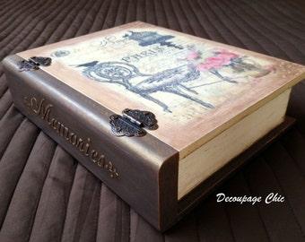 Paris book box, vintage keepsake box