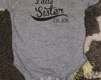 Little Sister, Little Sister Baseball Shirt, Grey Sister Sibling Shirts- order with or without year
