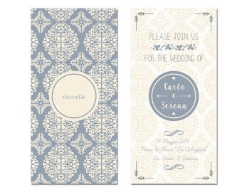 • Damask wedding invitation •