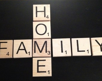 """6"""" Wall Hanging Scrabble Tile Vinyl Letters - Initials - Crossword - Home - Love - Family"""