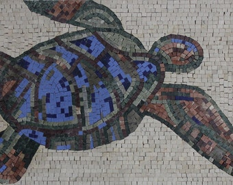 Sea Turtle Blue Plain Background Mural Home Decor Marble Mosaic AN1120