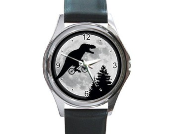 T Rex Moon  Round Metal Watch