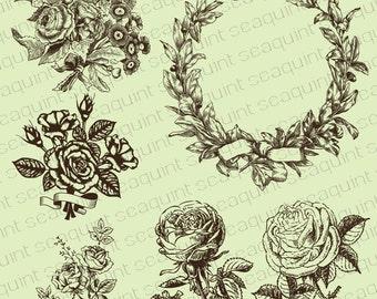 Retro Flower Clipart - Vintage Flower Illustration Clipart Clip Art PNG & Vector EPS, AI Design Elements Digital Instant Download