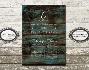 Country Rustic Teal Wood Wooden Wedding Invitation Digital Download File