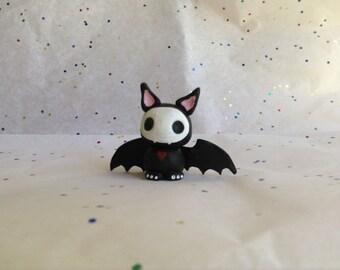 Polymer clay dead bat figurine