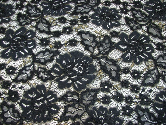 Black embroidered with gold Austrian high quality lace