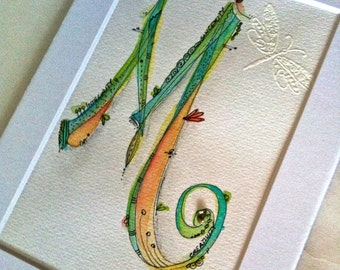 Original Watercolor Initial M/Freestyle Whimsical Doodles Embossed Embellishment