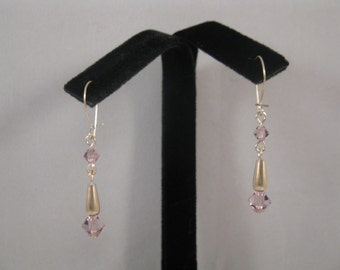 Sterling Silver Dangle Earrings with Lilac Swarovski Austrian Crystal Beads