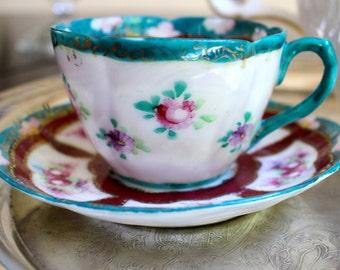 Vintage Bone China Hand Painted Espresso Cup/ Demitasse
