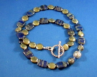 A Lapis Rectangles and Pyrite Disc with Crystal Necklace