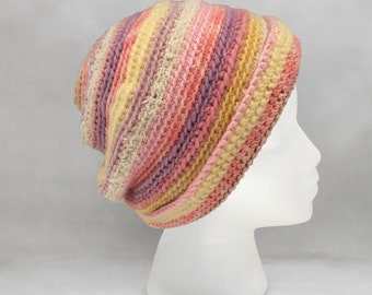 Pink and Orange Crochet Beanie