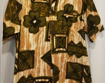 Another Amazing Barkcloth Tiki Hawaiian Shirt! Aloha! Made in Hawaii