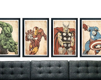 "The Avengers inspired poster set, Poster Set of 4, minimalistic design, wall decor 11"" x 17"" Ironman, Hulk, Thor, Captain America"
