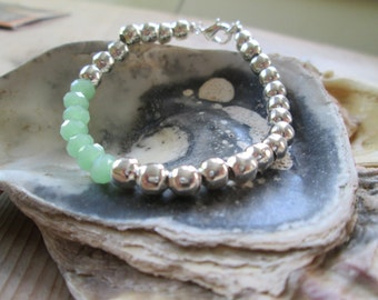 Silver and Minty Green Bracelet