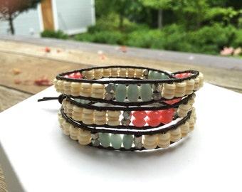 amazonite, coral, & bone three wrap bracelet
