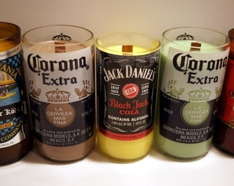 Beer Bottle Candle with wood wick