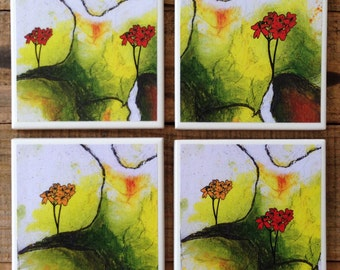 Set of 4 Drink Coasters - Abstract Wildflower