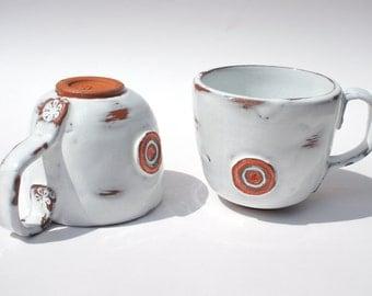Two Handmade White Terracotta Coffee/Tea Mugs